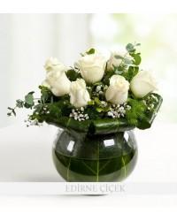 Beyazın Zarafeti 8 Beyaz Güller